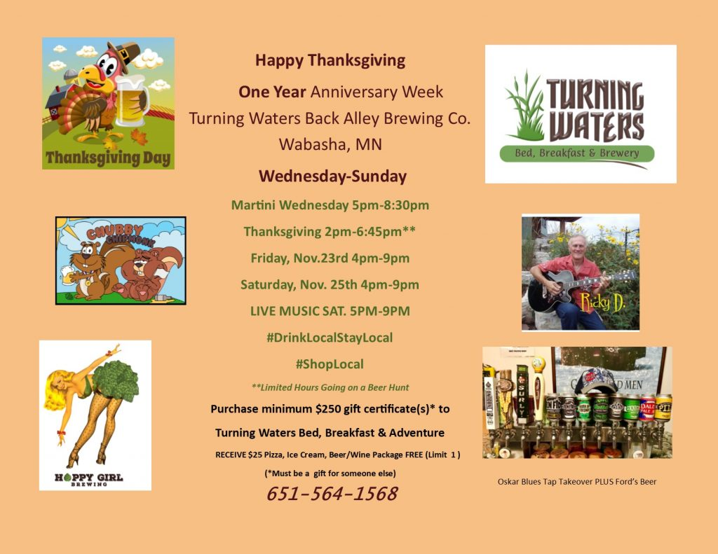 Hoppy-Girl-Brewing-Thanksgiving-Week-Events-Turning-Waters-Back-Alley-Brewing-Co-November-2018